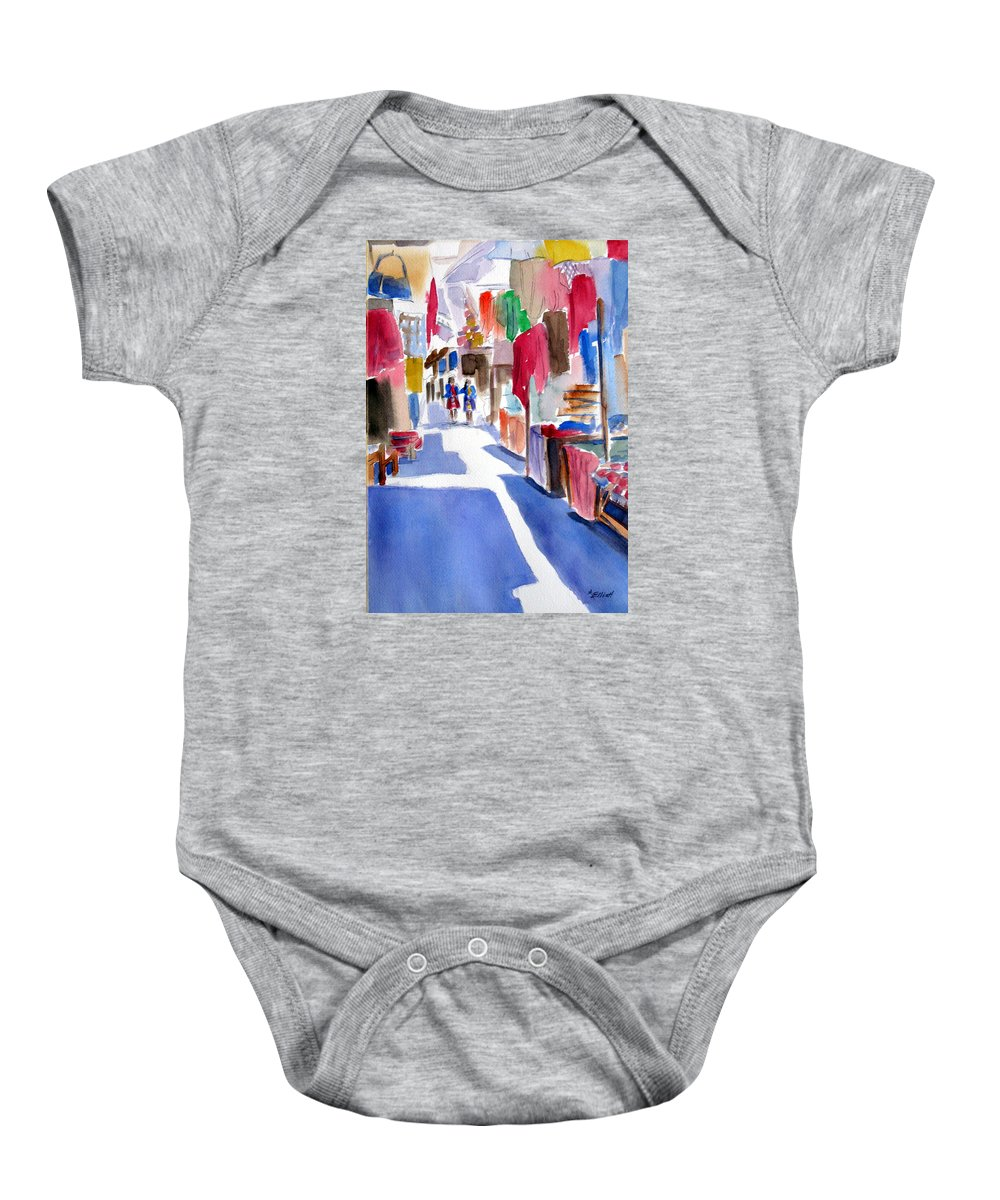 Market Baby Onesie featuring the painting Sunny Day At The Market by Marsha Elliott