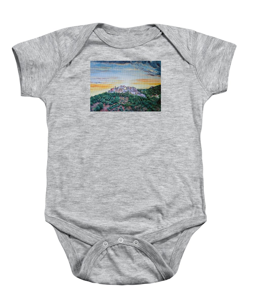 Skies Baby Onesie featuring the painting Sunny by Michel Angelo Rossi