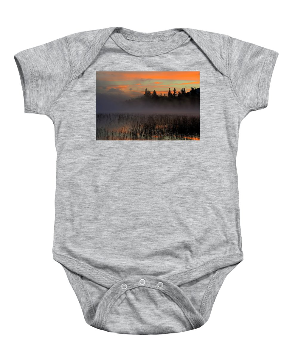 Adirondack Sunrise Baby Onesie featuring the photograph Sunrise At Connery Pond 1 by Tony Beaver