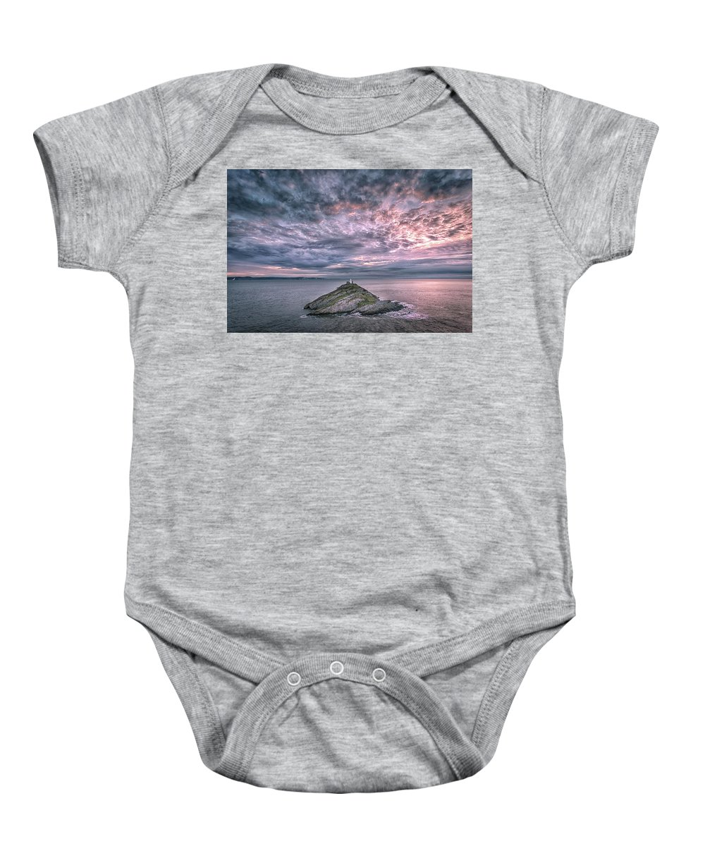 Mumbles Lighthouse Baby Onesie featuring the photograph Sunrise At Mumbles Lighthouse by Leighton Collins