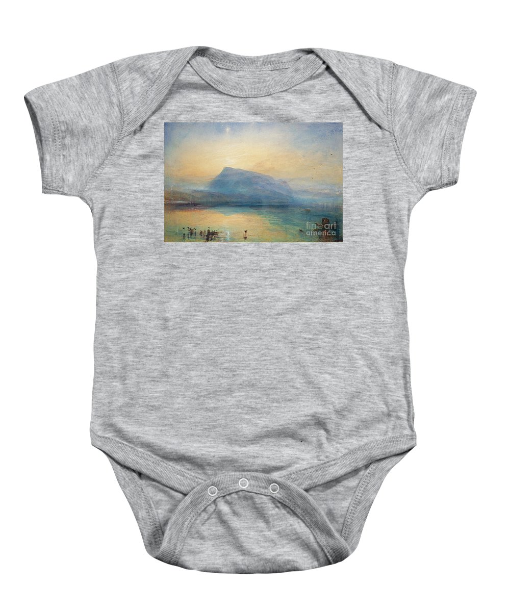 The Baby Onesie featuring the painting Sunrise by Joseph Mallord William Turner