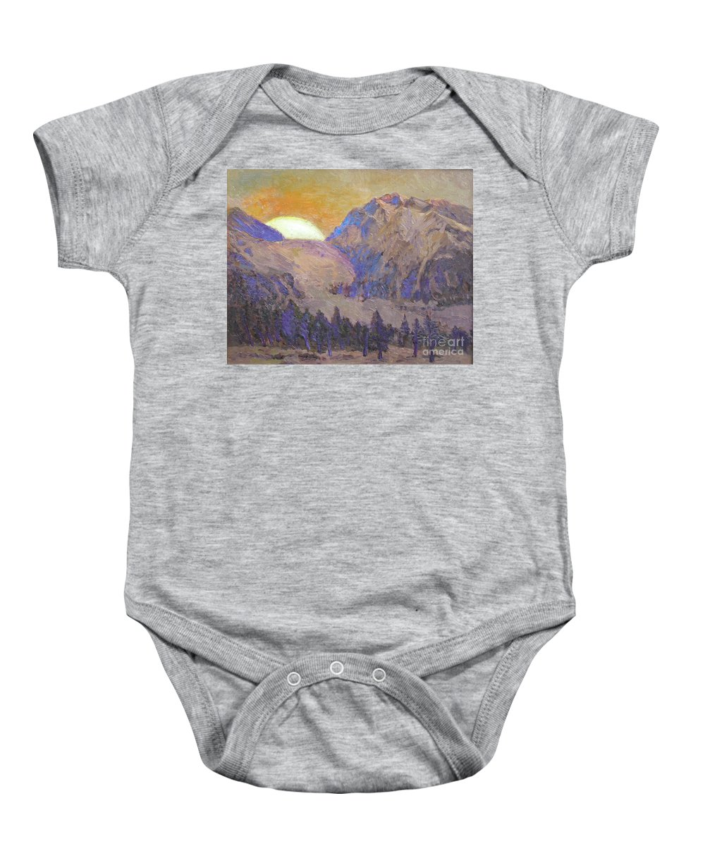 Sunrise Baby Onesie featuring the painting Sunrise by Meihua Lu