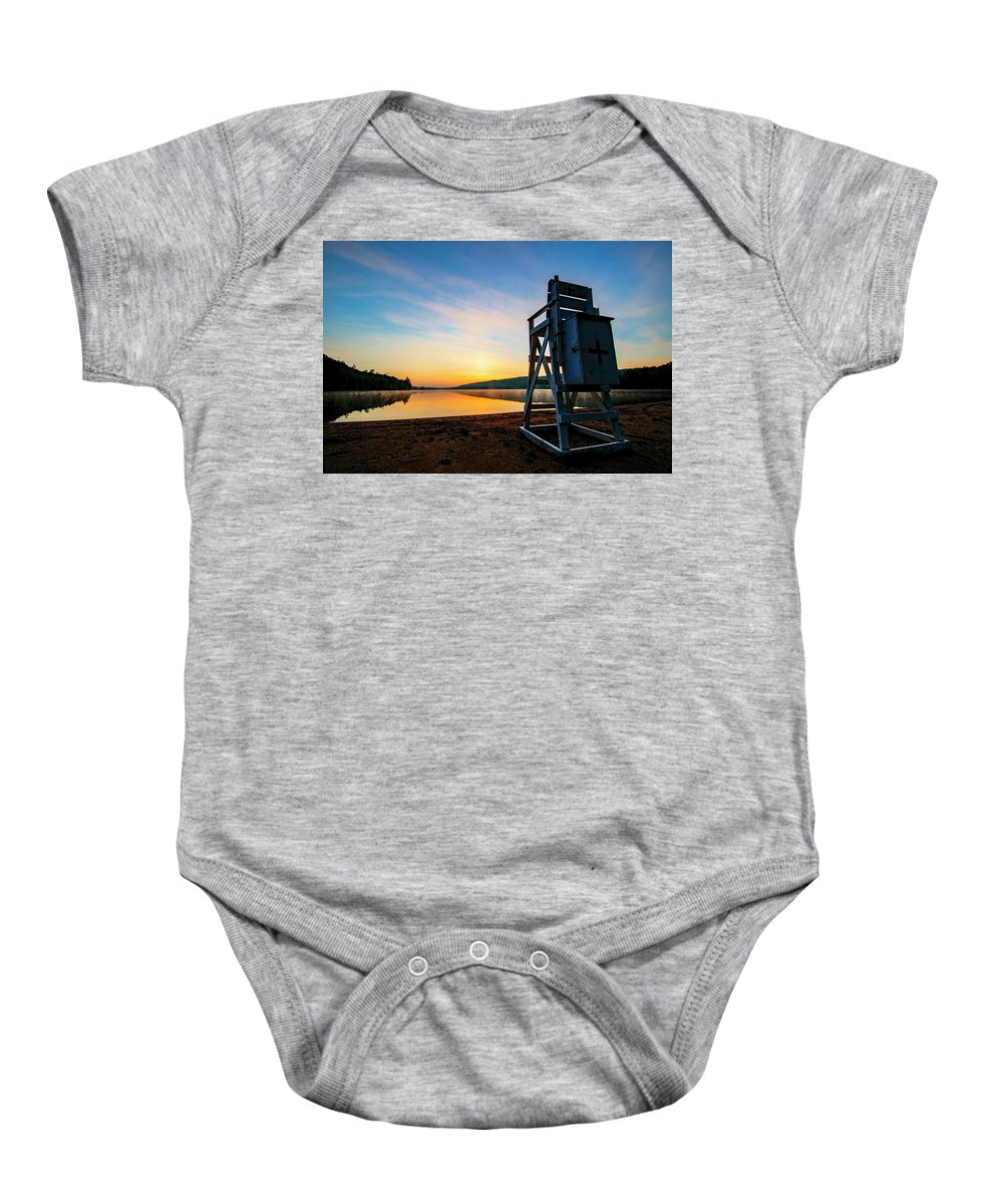 Sunrise Baby Onesie featuring the photograph Sunrise On Eighth Lake 1 by Tony Beaver