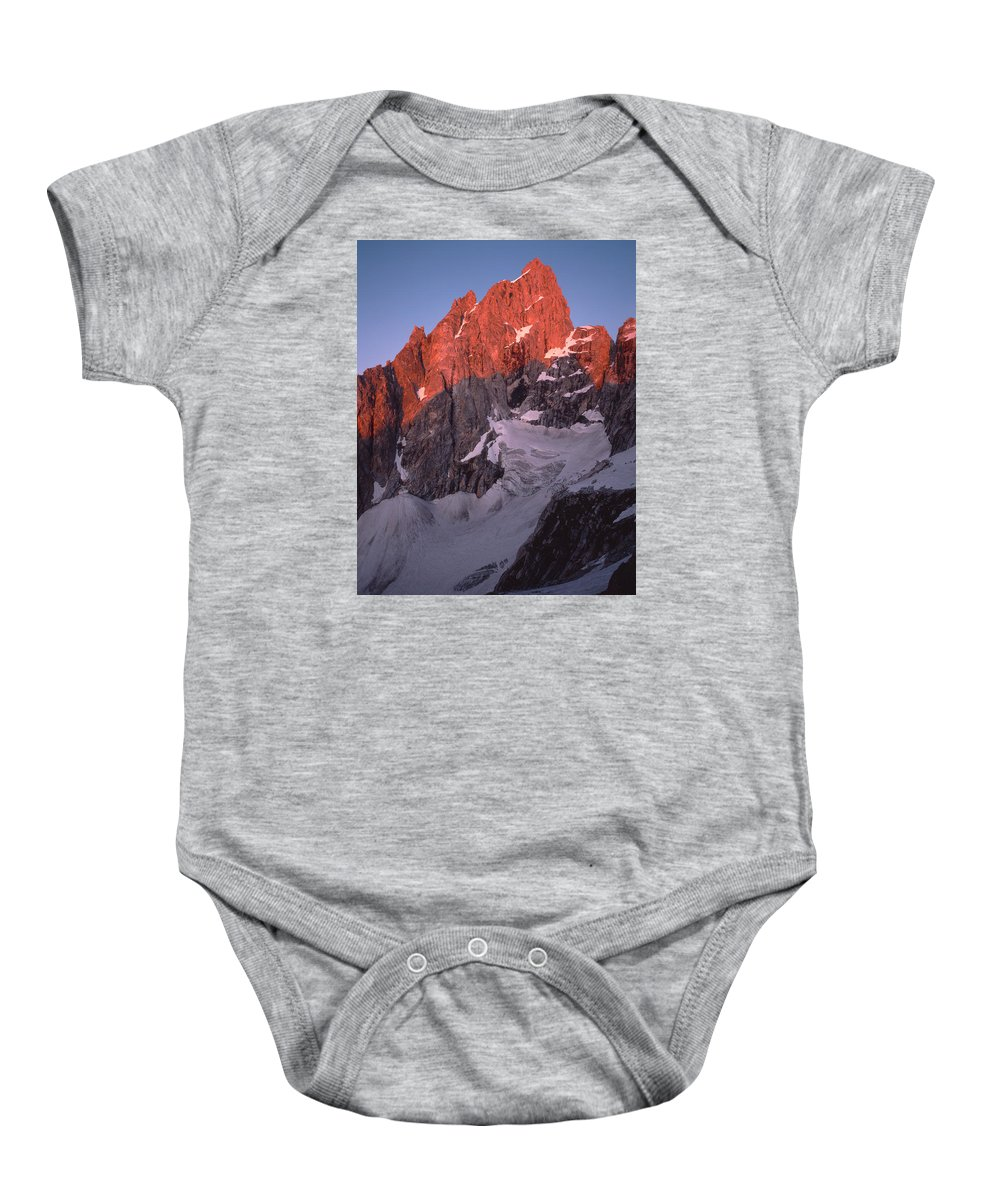 Sunrise Baby Onesie featuring the photograph 1m9380-sunrise On Grand Teton by Ed Cooper Photography