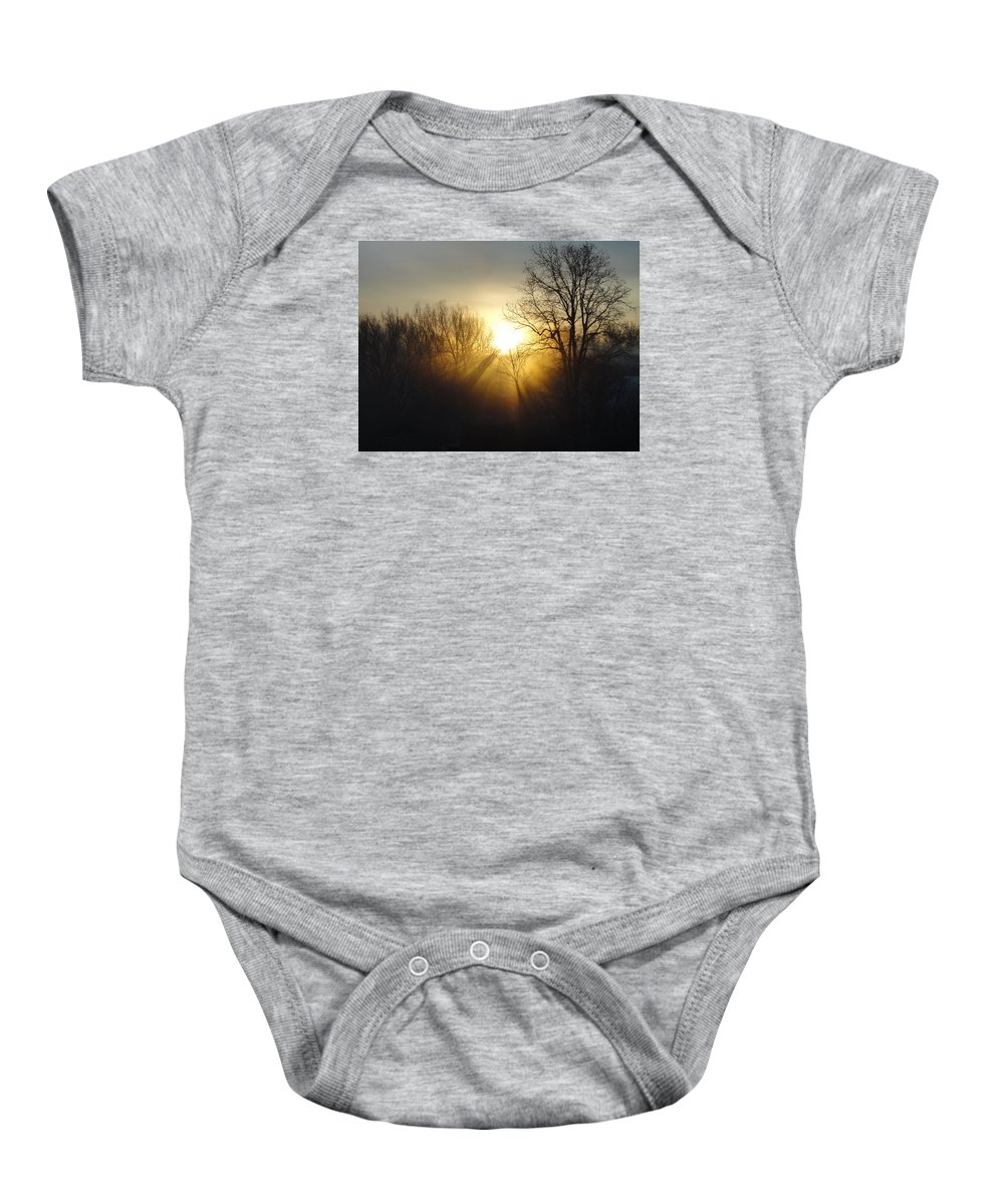 Sunrise Baby Onesie featuring the photograph Sunrise Rays by Robert Collier