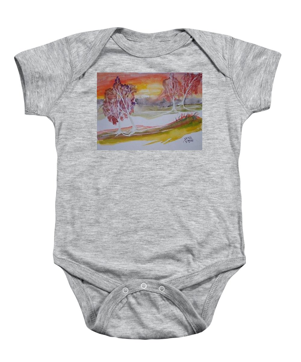 Impressionistic Baby Onesie featuring the painting Sunrise Surreal Modern Landscape Painting Fine Art Poster Print by Derek Mccrea