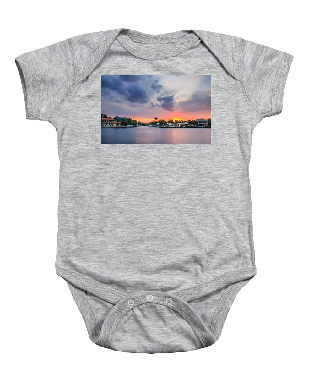 America Baby Onesie featuring the photograph Sunset Across The Gulf Stream by Rob Sellers