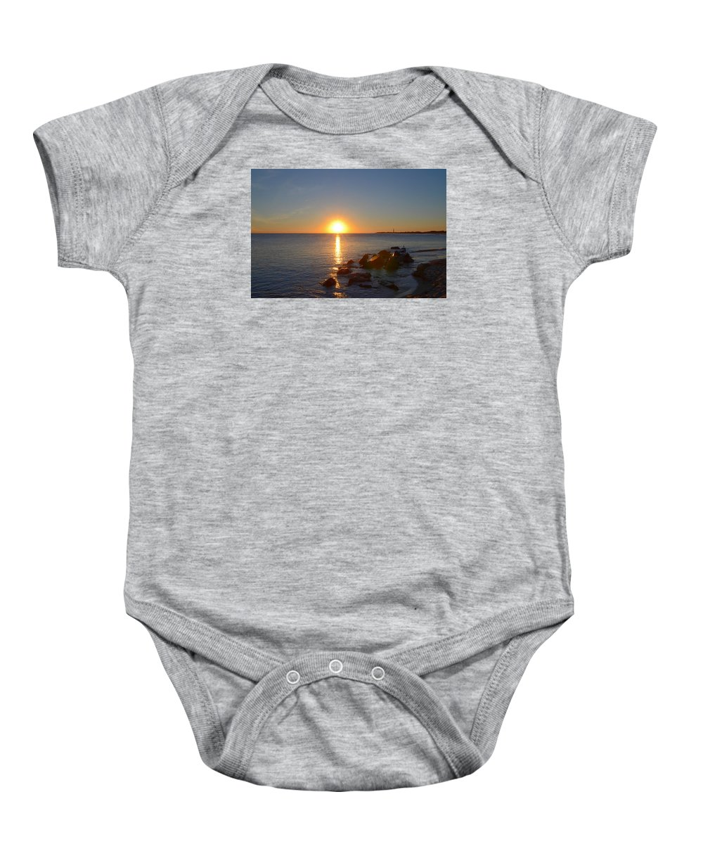 Sunset Baby Onesie featuring the photograph Sunset At Cape May Beach by Bill Cannon