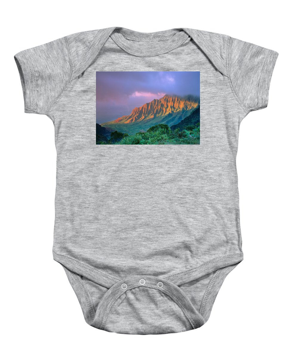 Aerial Baby Onesie featuring the photograph Sunset At Kalalau Lookout by Greg Vaughn - Printscapes