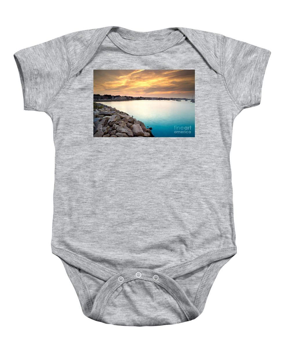 Sunset Baby Onesie featuring the photograph Sunset At Plymouth Harbor by Matt Suess