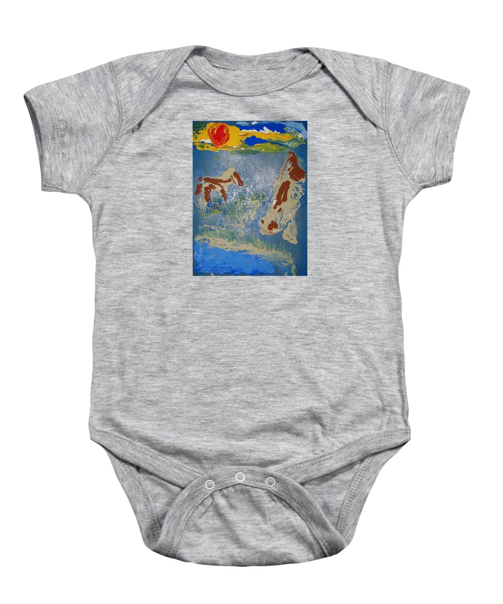 Impressionism Baby Onesie featuring the painting Sunset At The Watering Hole by J R Seymour