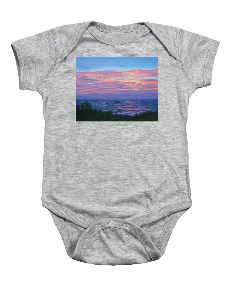 Seascape Baby Onesie featuring the painting Sunset Bay by Lea Novak