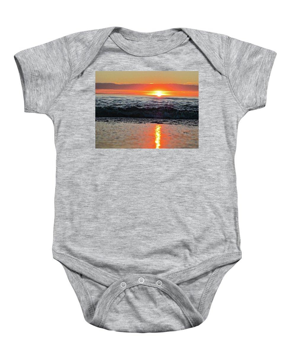 Waves Baby Onesie featuring the photograph Sunset Beach by Douglas Barnard
