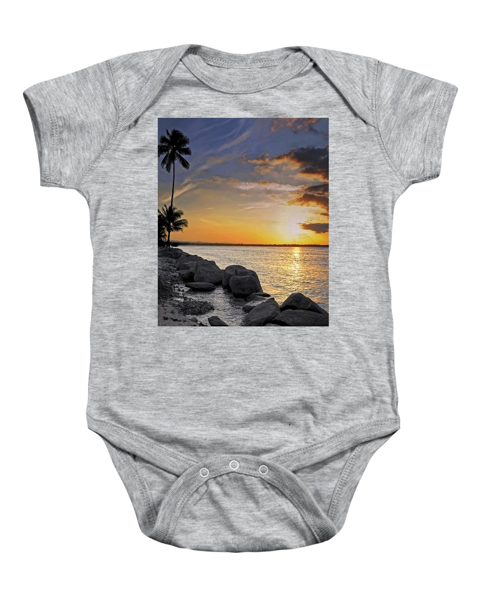 Caribbean Baby Onesie featuring the photograph Sunset Caribe by Stephen Anderson