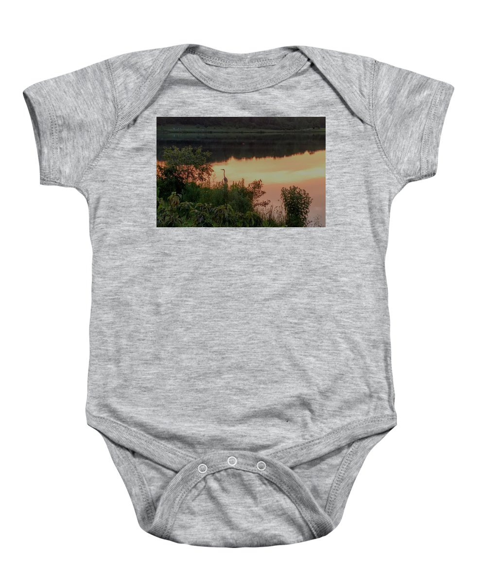 Baby Onesie featuring the photograph Sunset Heron by Brad Nellis