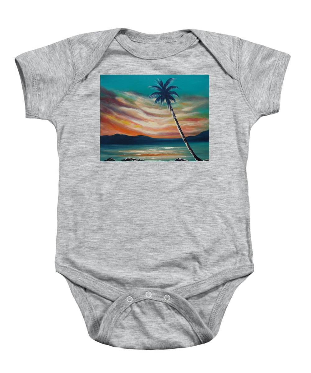 Sunset Baby Onesie featuring the painting Sunset In Paradise by Gina De Gorna