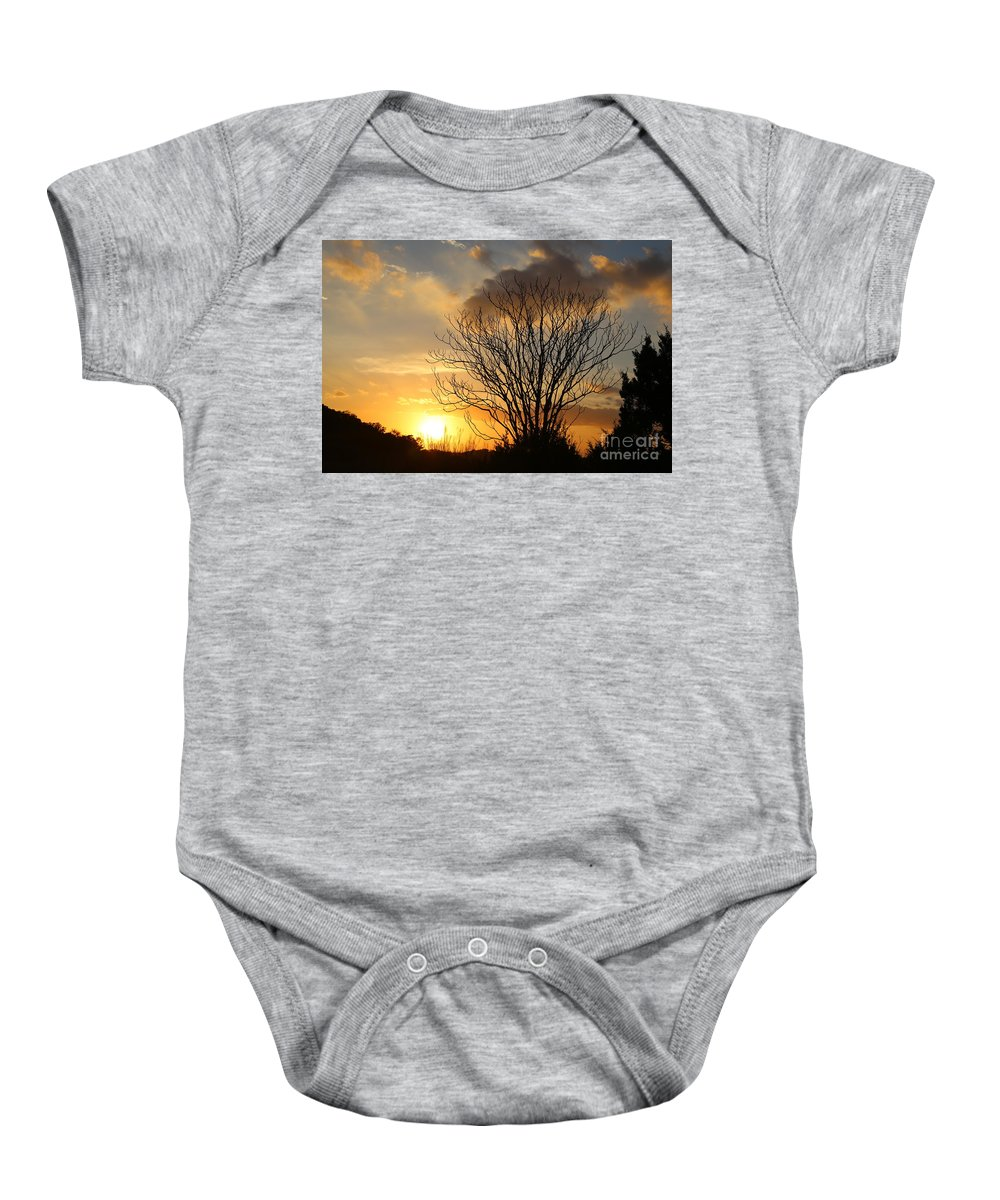 Landscape Baby Onesie featuring the photograph Sunset by Jeff Downs