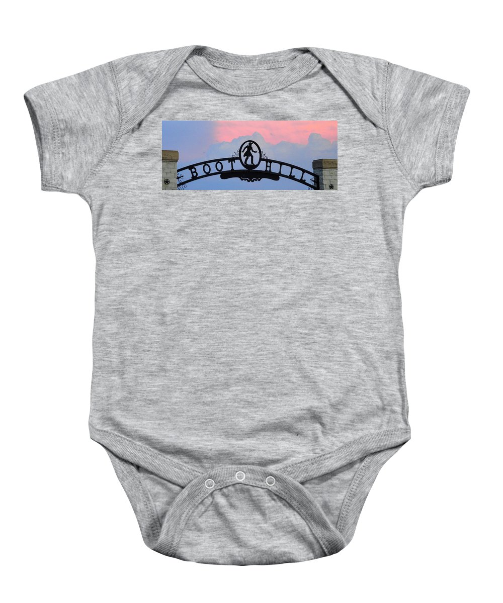 Boot Hill Baby Onesie featuring the photograph Sunset On Boot Hill by Cindy New