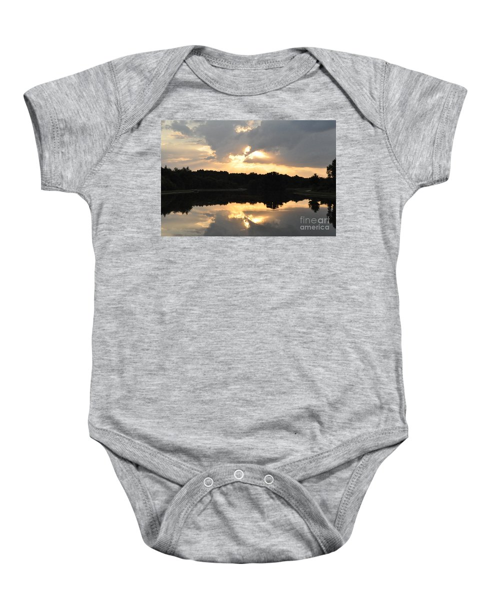 Sunset Baby Onesie featuring the photograph Sunset On The Lakefront by John Black