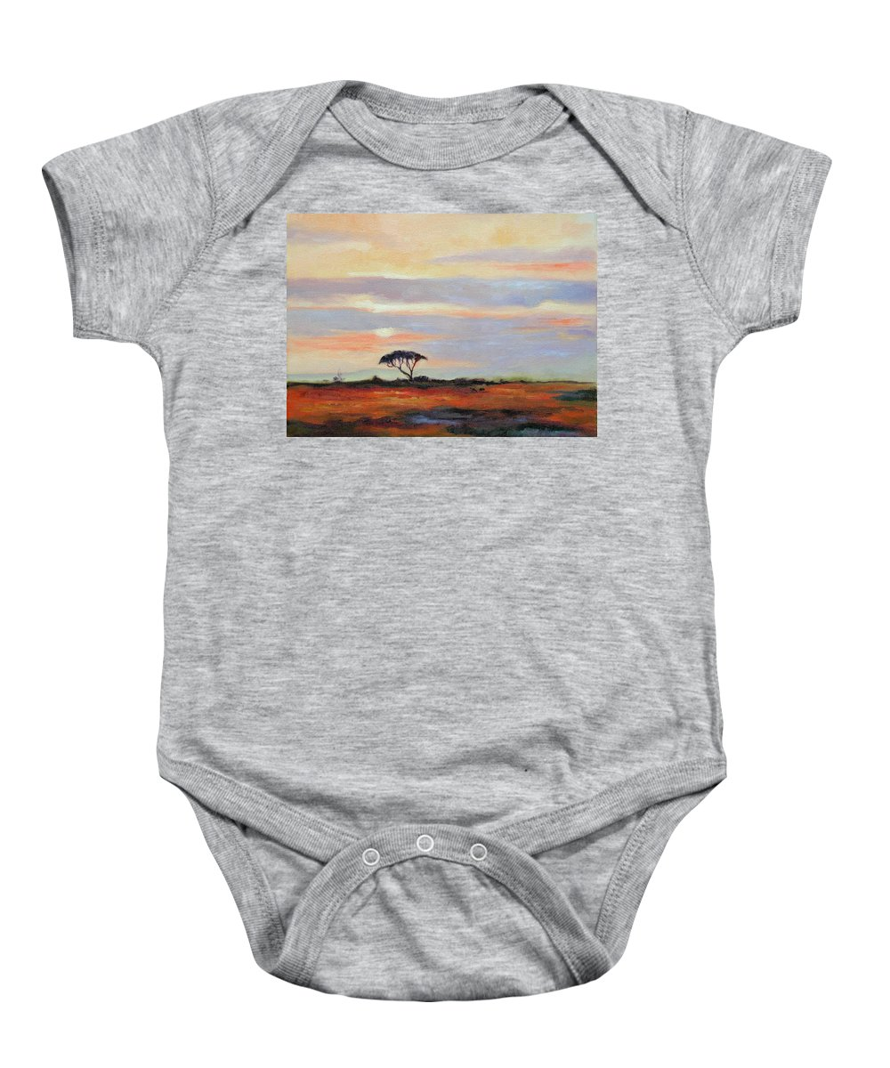 Landscape Baby Onesie featuring the painting Sunset On The Serengheti by Ginger Concepcion