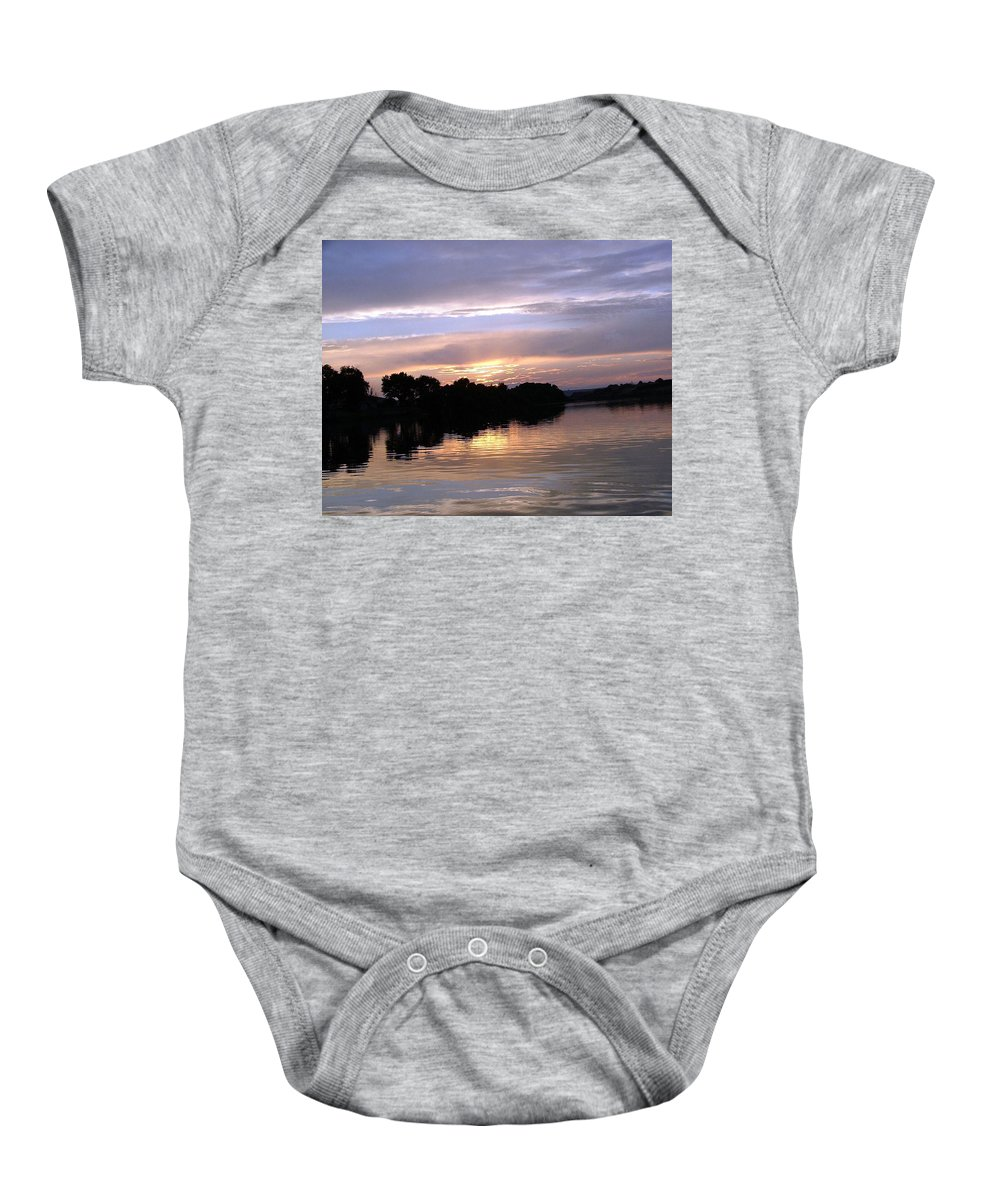 Snake River Baby Onesie featuring the photograph Sunset On The Snake by Dawn Blair