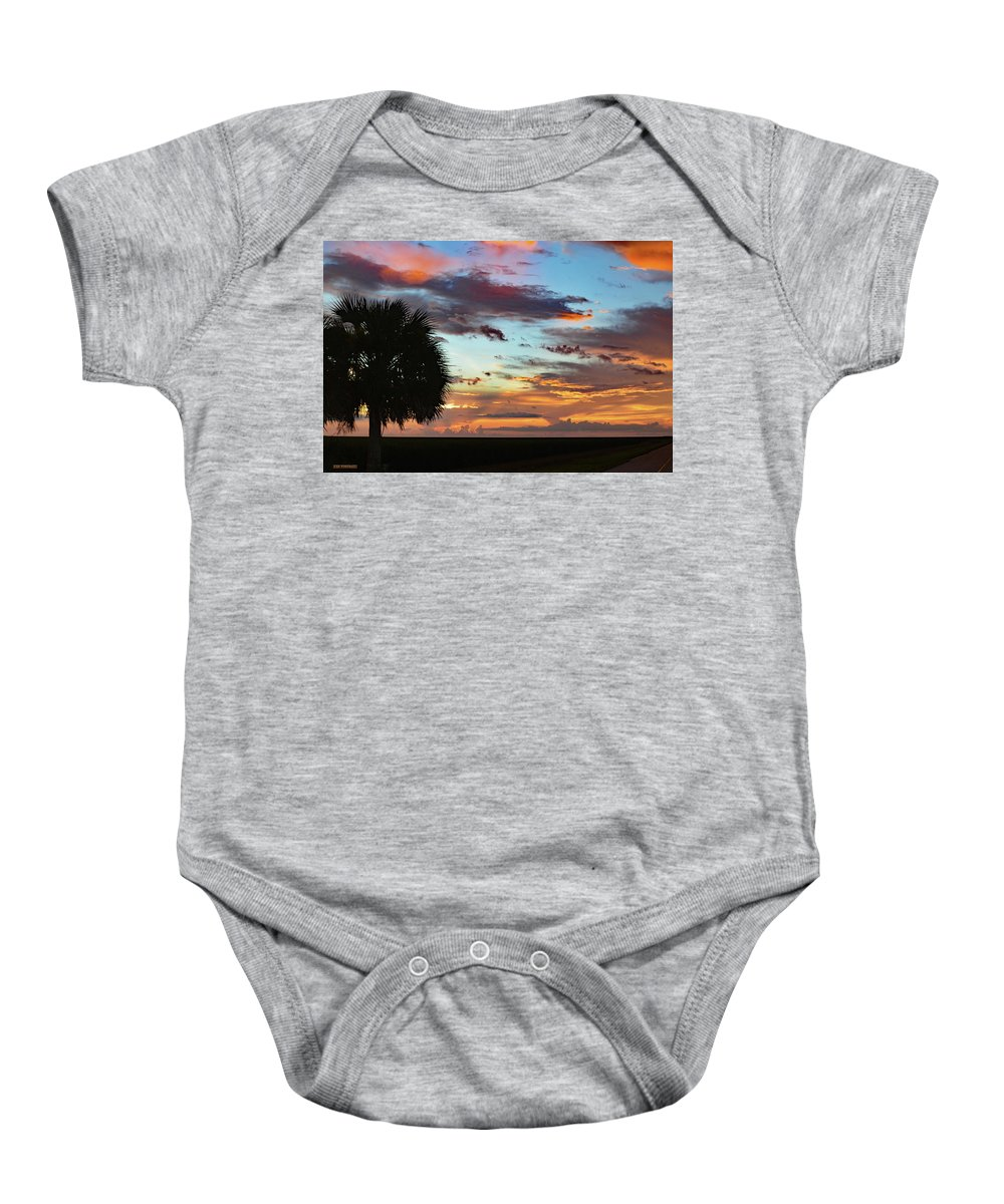Delray Baby Onesie featuring the photograph Sunset Palm Florida by Ken Figurski