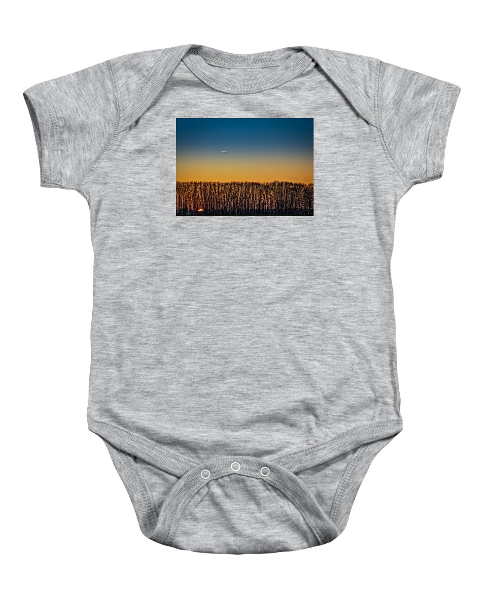 Sunset Baby Onesie featuring the photograph Sunset Plane by Dr Charles Ott