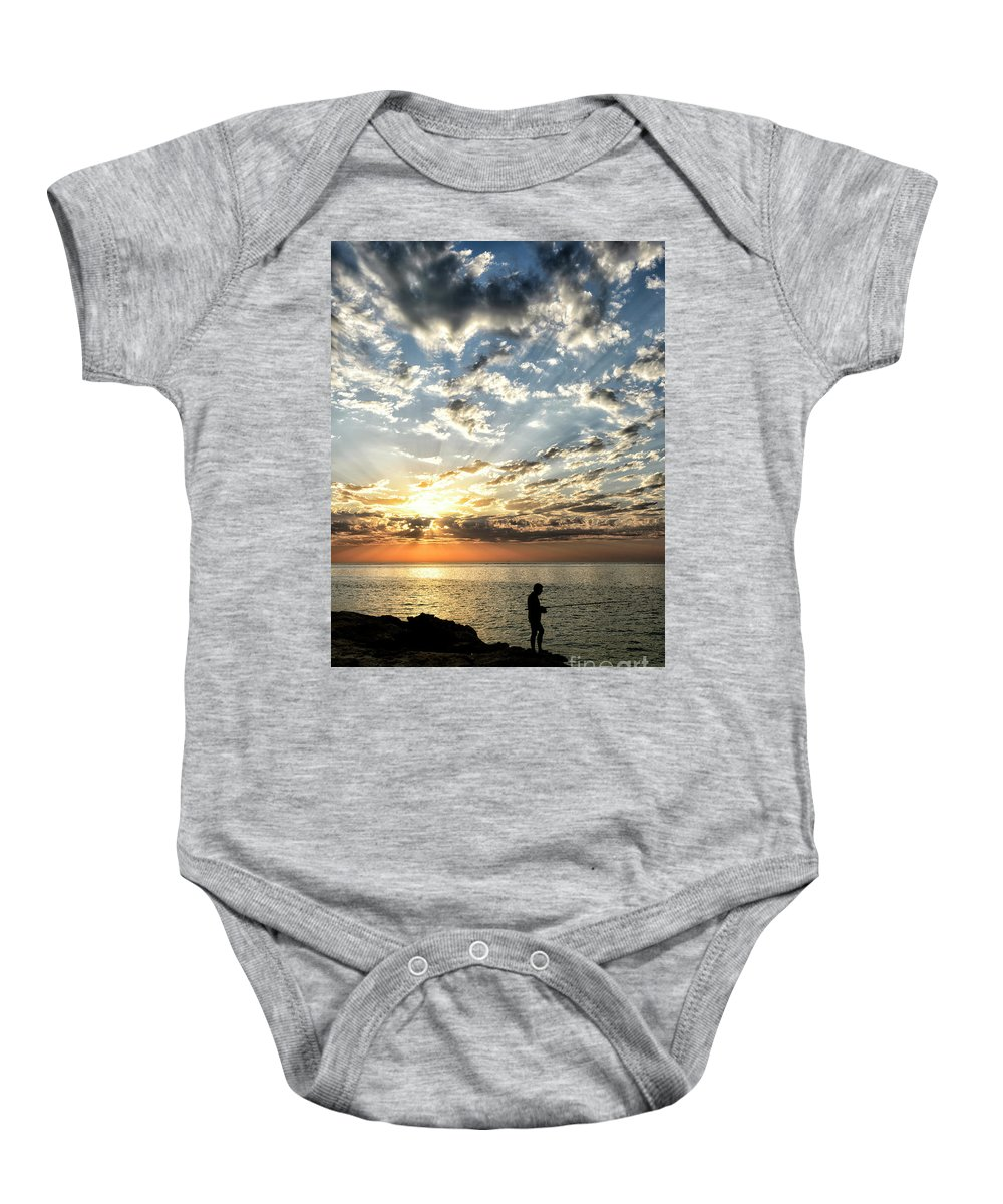 Sunset Baby Onesie featuring the photograph Sunset Sea Fishing by Genevieve Vallee