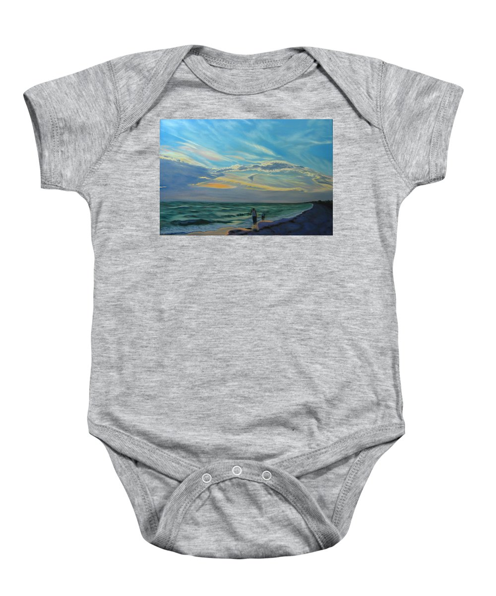 Seascape Baby Onesie featuring the painting Sunset Treasure Hunt by Lea Novak