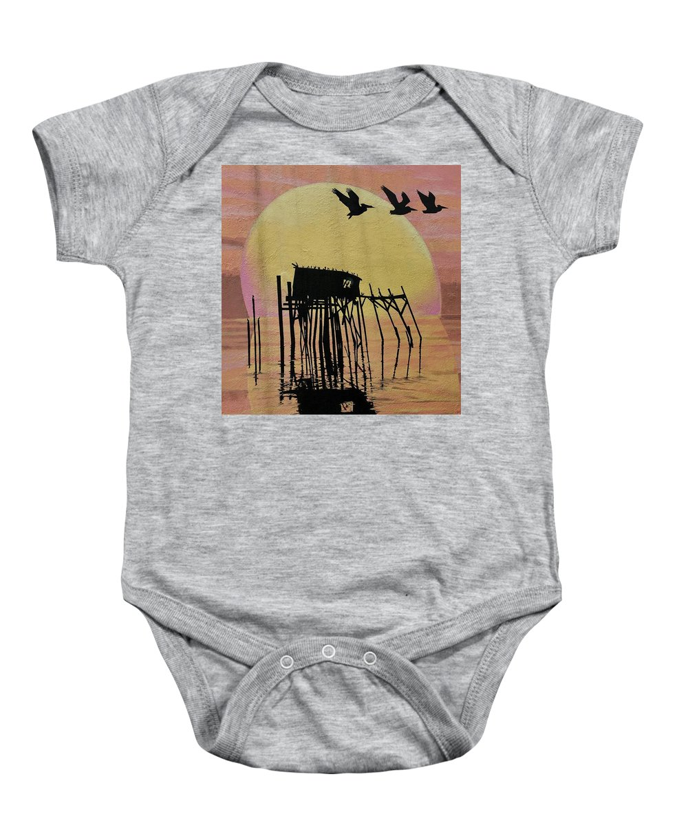 Wall Baby Onesie featuring the photograph Sunset Wall Mural In Cedar Key, Fl by Terry Cobb