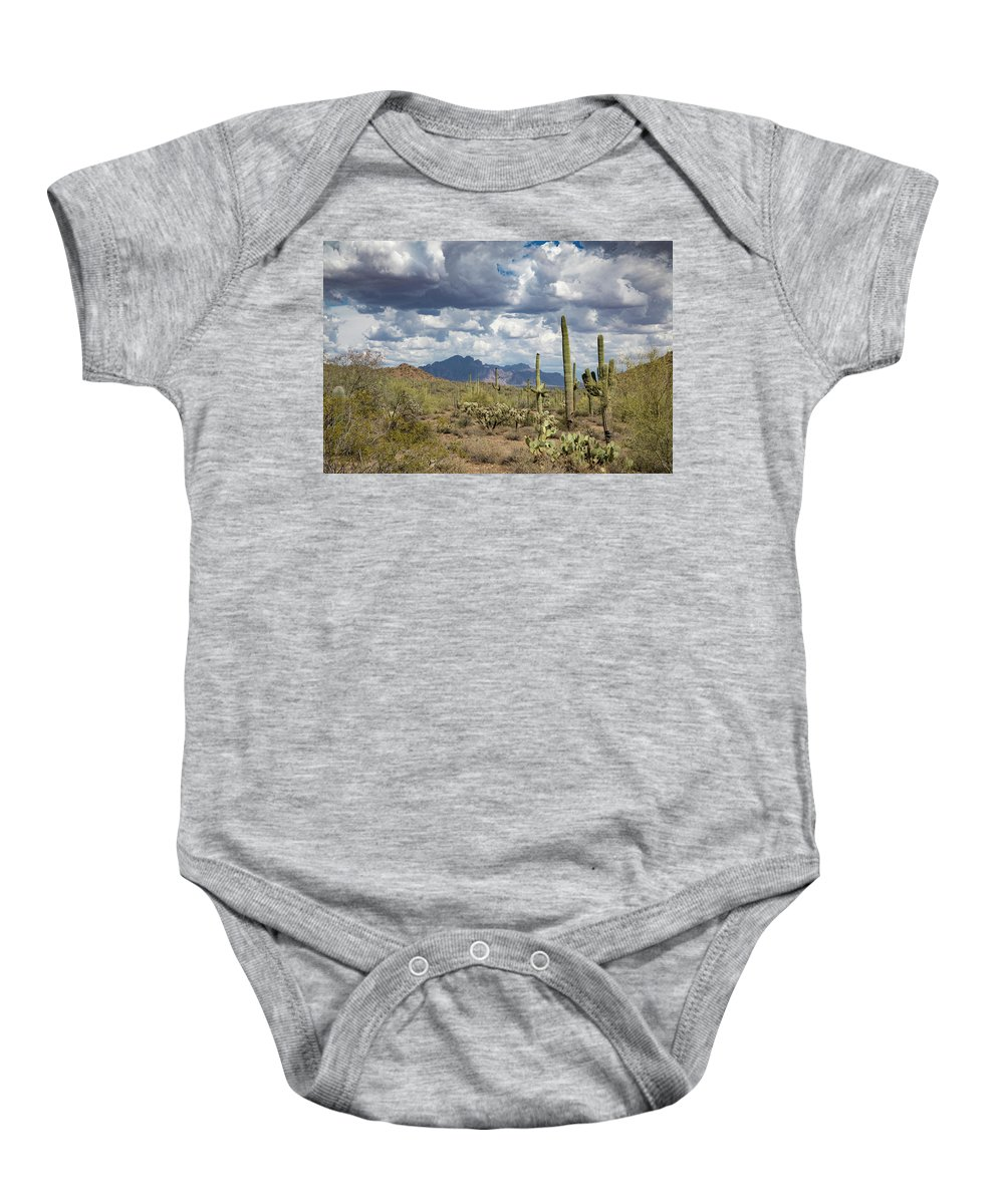 Arizona Baby Onesie featuring the photograph Superstition Shadows by Cathy Franklin