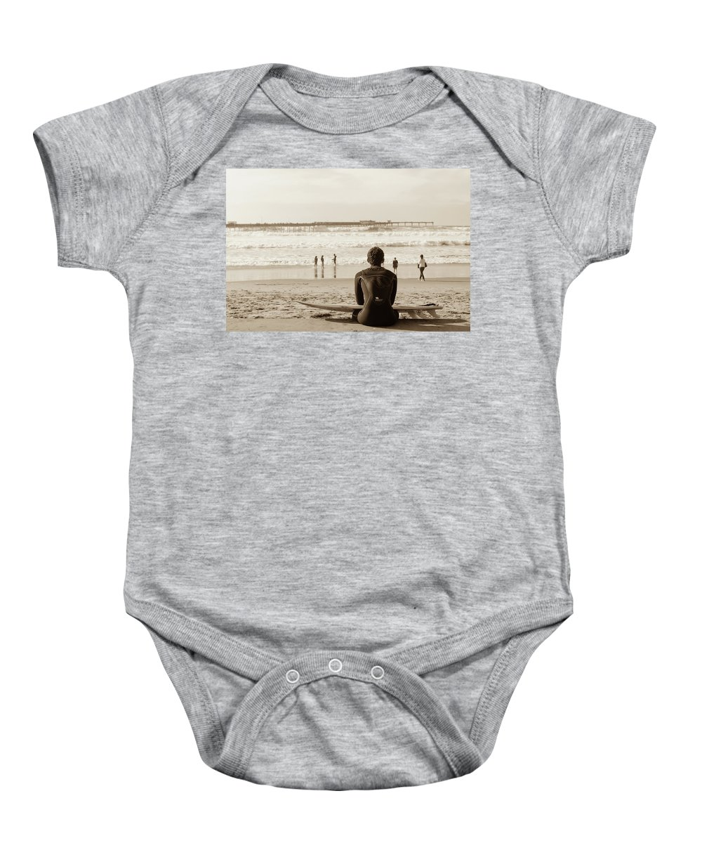 Ocean Baby Onesie featuring the photograph Surf Watcher by Clifford Beck
