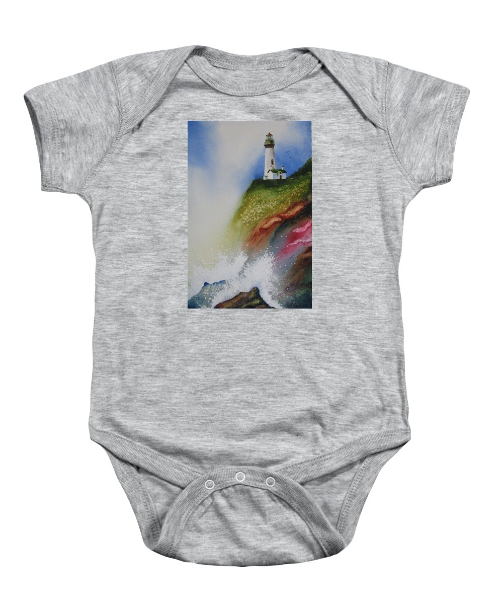 Lighthouse Baby Onesie featuring the painting Surfside by Karen Stark