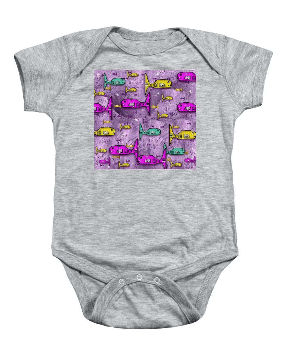 Asian Baby Onesie featuring the mixed media Sushi Naturelle by Pepita Selles