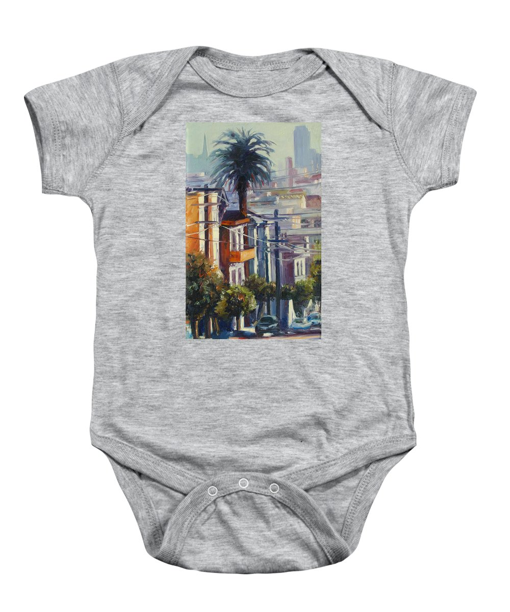 Cityscape Baby Onesie featuring the painting Post Street by Rick Nederlof