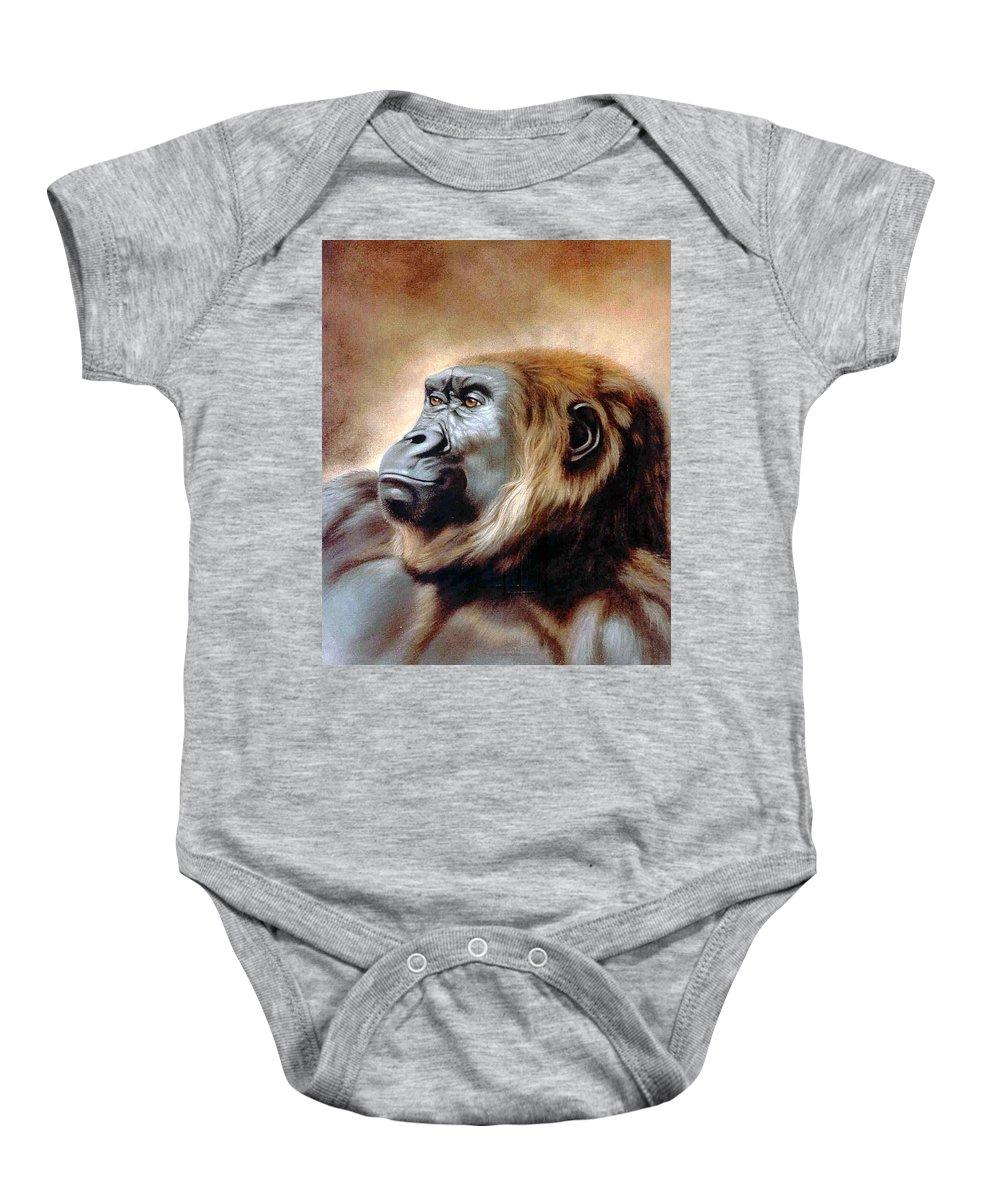 Gorilla Baby Onesie featuring the painting Suzie Q by Deb Owens-Lowe