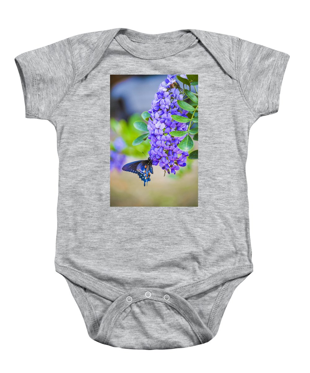 Butterfly Baby Onesie featuring the photograph Swallowtail On Mountain Laurel by Debbie Karnes