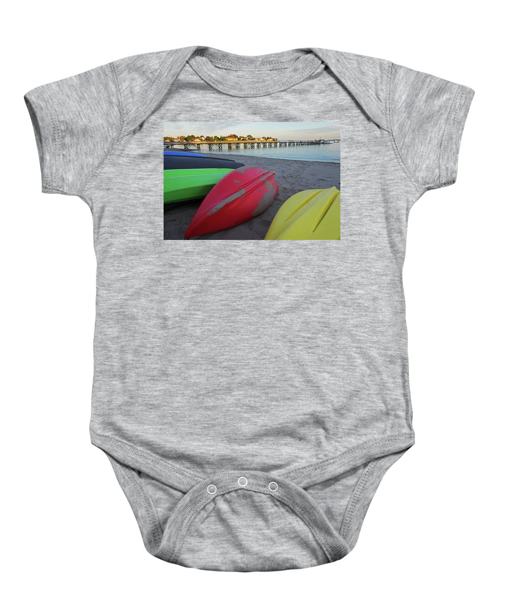 Swampscott Baby Onesie featuring the photograph Swampscott Yacht Club Swampscott Ma Boats by Toby McGuire