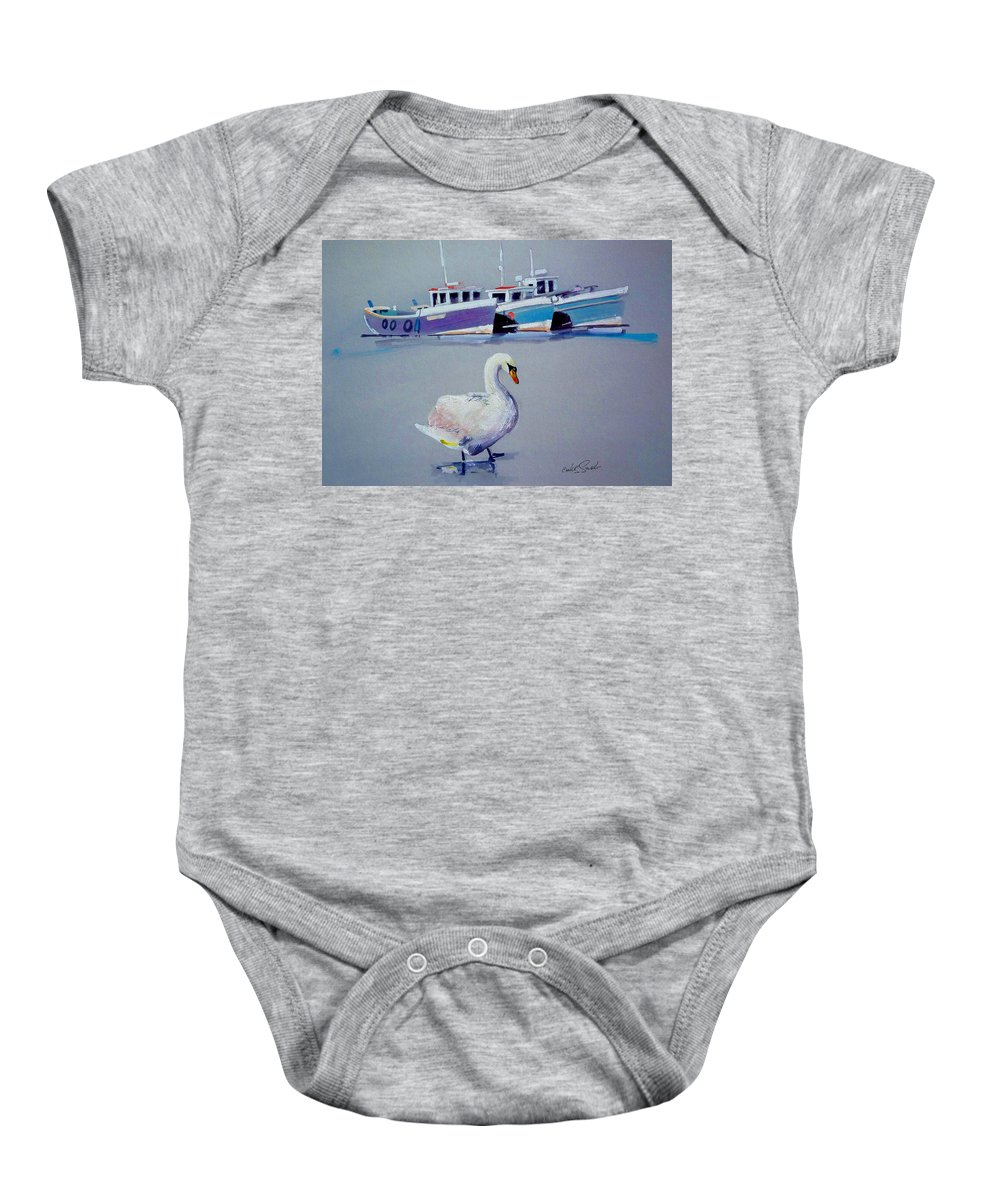 Swan Baby Onesie featuring the painting Swan Lake With Pleasure Boats by Charles Stuart