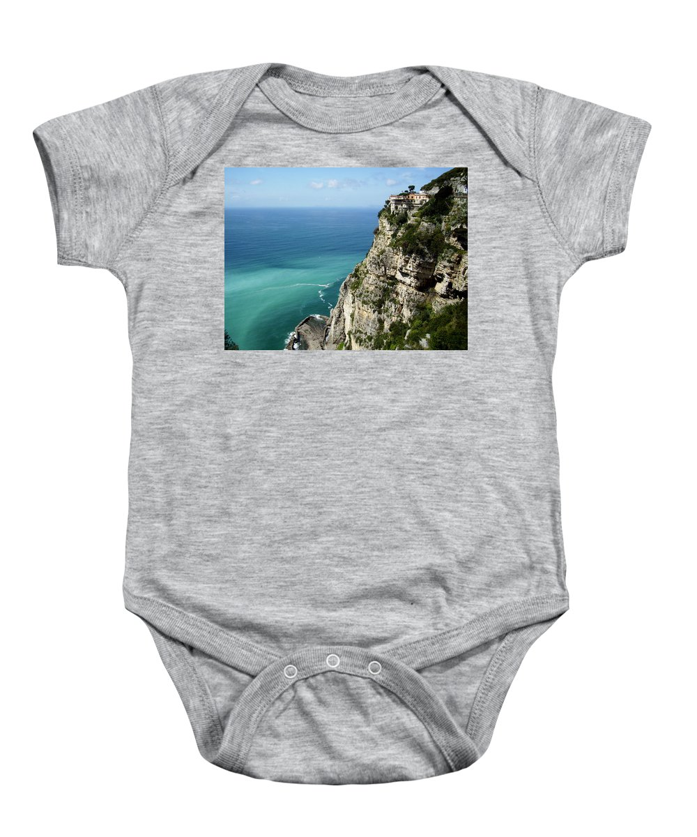 Amalfi Coast Sea Cliffs Baby Onesie featuring the photograph Sweeping Around The Amalfi Coast by Andy Lloyd