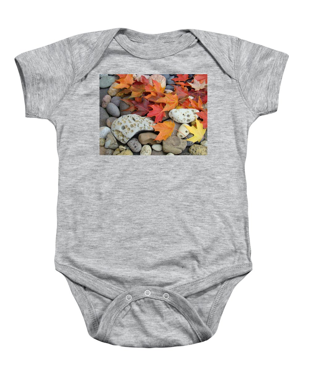 Art Baby Onesie featuring the photograph Sweet Autumn 1 Autumn Leaves Rock Designs Photography Digital Art Prints by Baslee Troutman