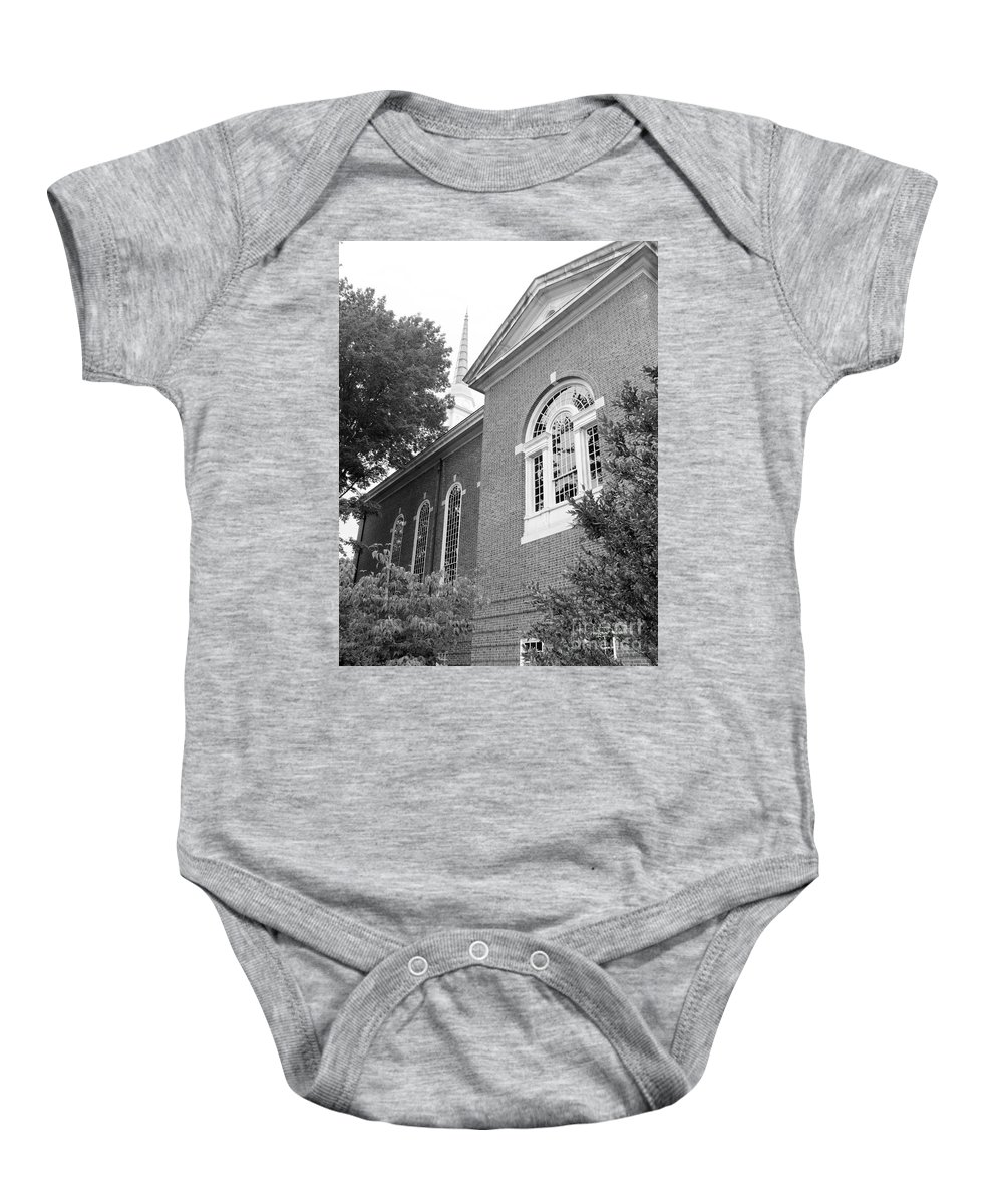 B&w Baby Onesie featuring the photograph Sweet Briar Chapel by Katherine W Morse