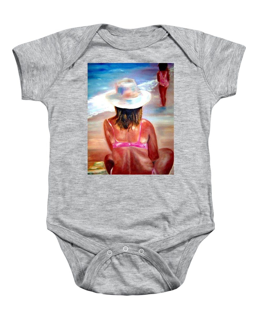 Beach Baby Onesie featuring the painting Sweet Child Of Mine by Sandy Ryan