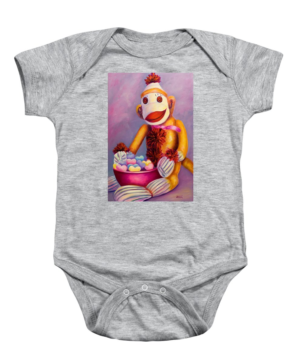 Heart Baby Onesie featuring the painting Sweetheart Made Of Sockies by Shannon Grissom