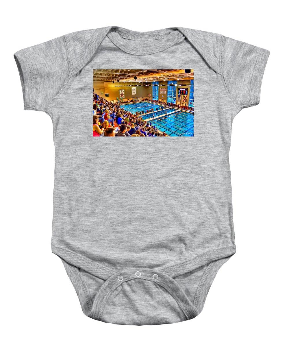 Swim Baby Onesie featuring the digital art Swim Meet by Stephen Younts