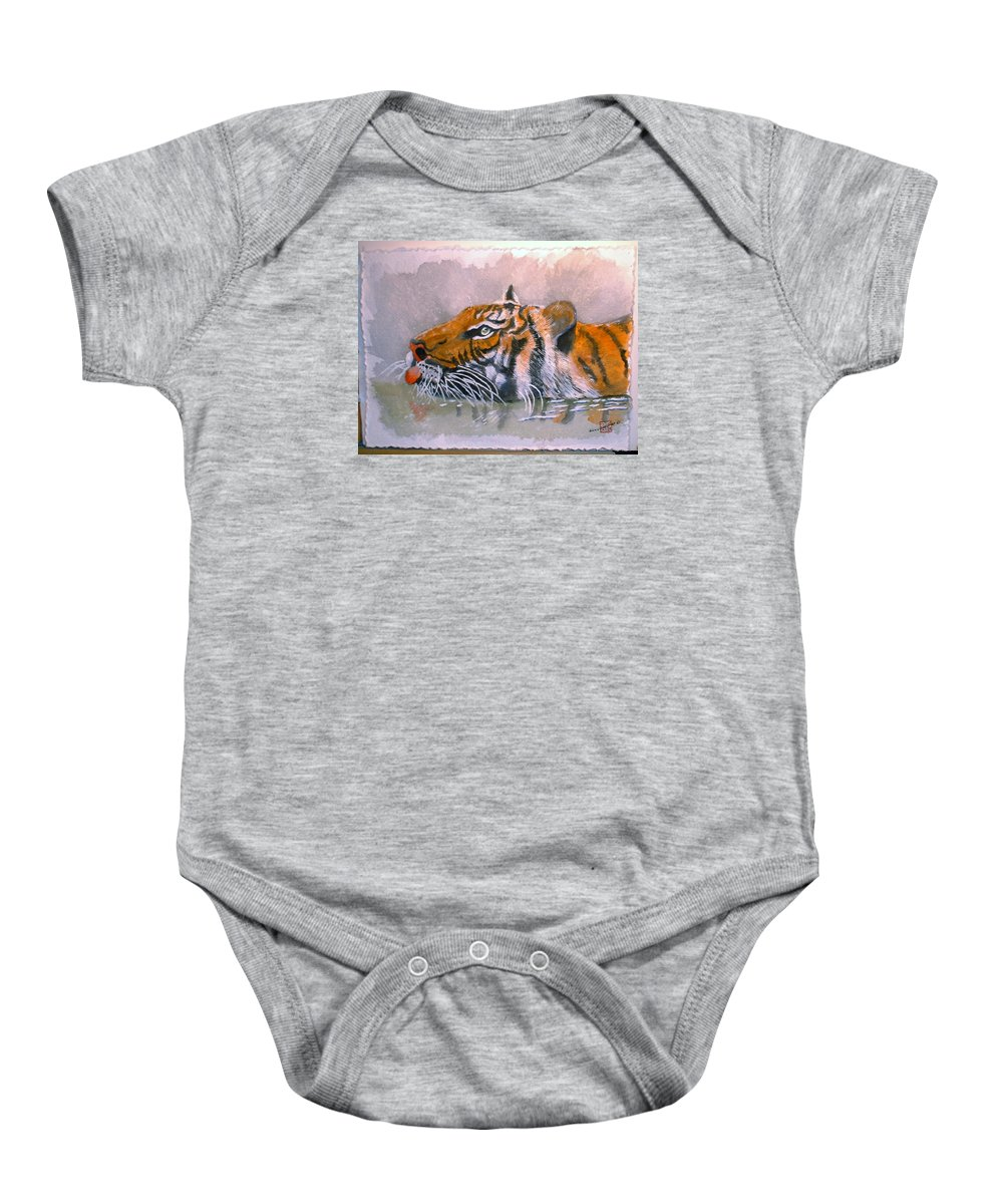Tigers Baby Onesie featuring the painting Swimming Tiger by Arlene Wright-Correll