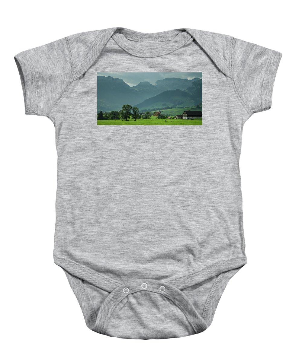 Switzerland Baby Onesie featuring the photograph Switzerland Countryside by Deborah Hughes