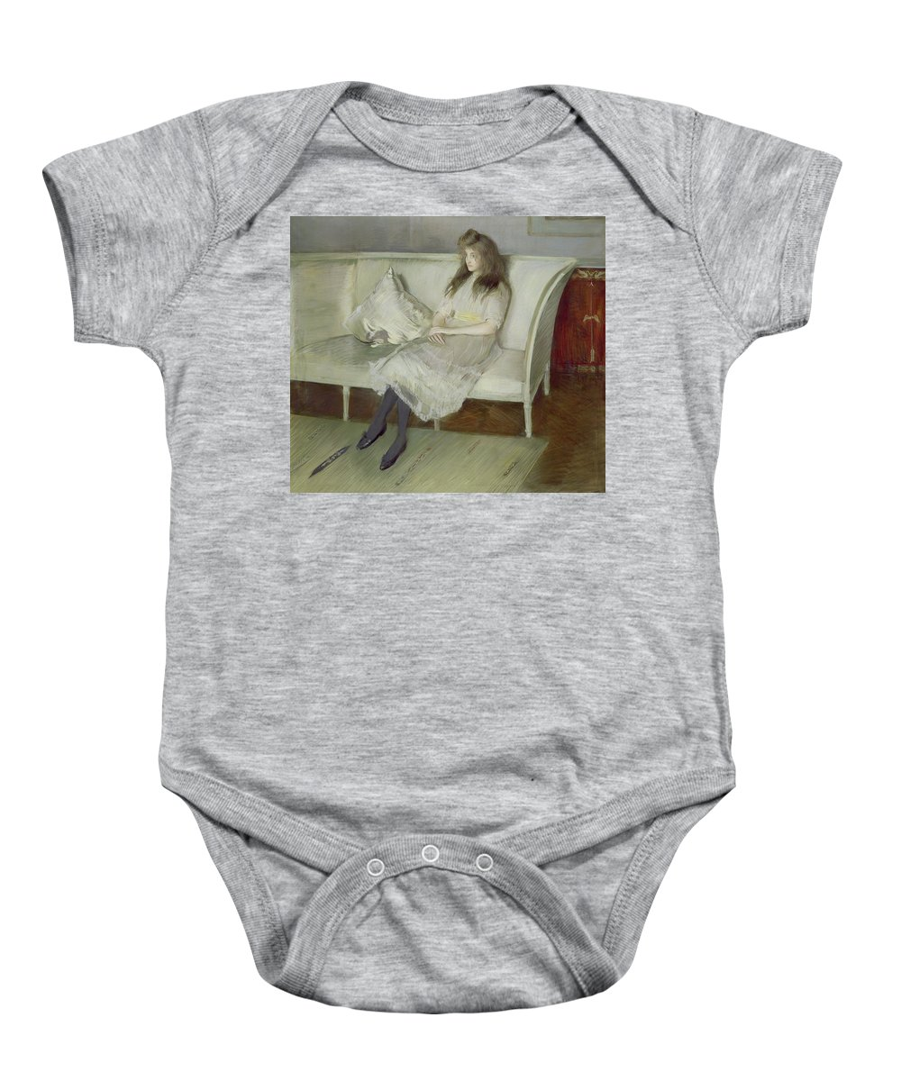 Symphony Baby Onesie featuring the painting Symphony In White by Paul Cesar Helleu