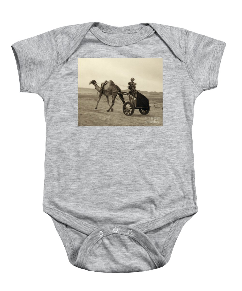 1938 Baby Onesie featuring the photograph Syria: Camel Race, C1938 by Granger