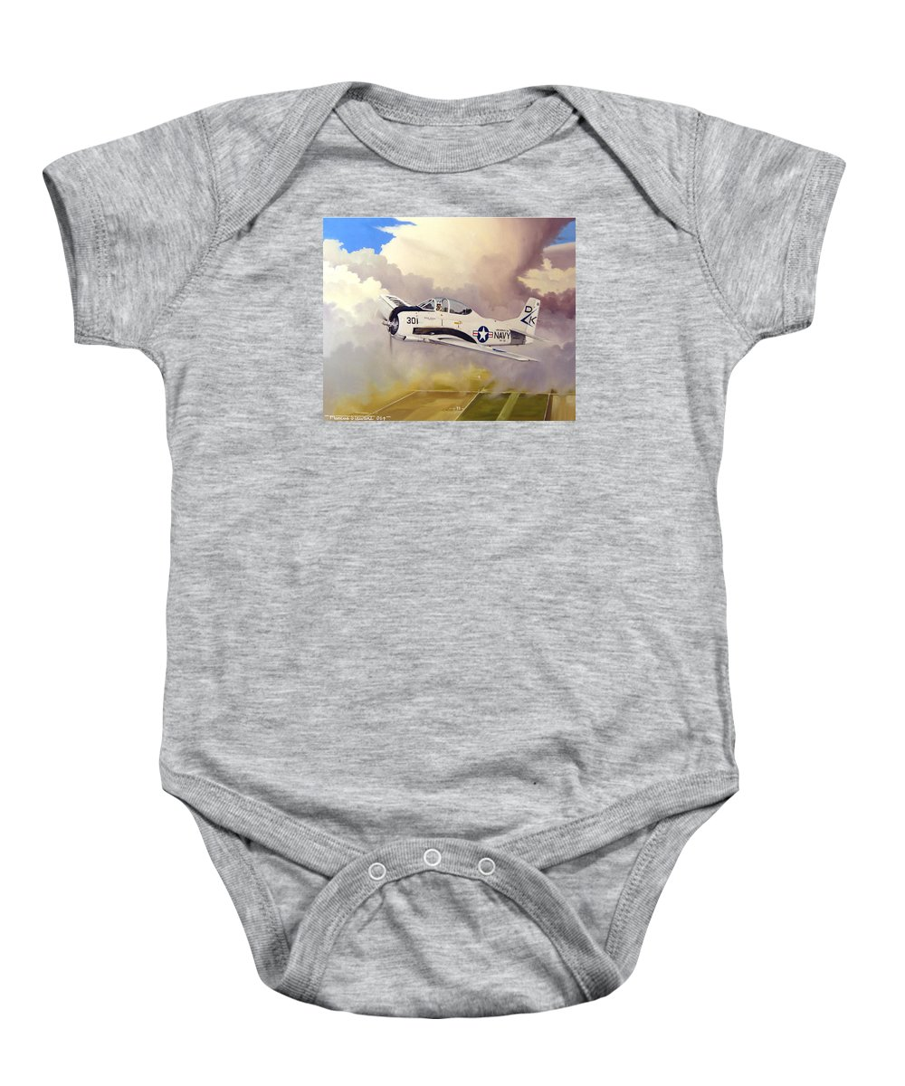 Military Baby Onesie featuring the painting T-28 Over Iowa by Marc Stewart